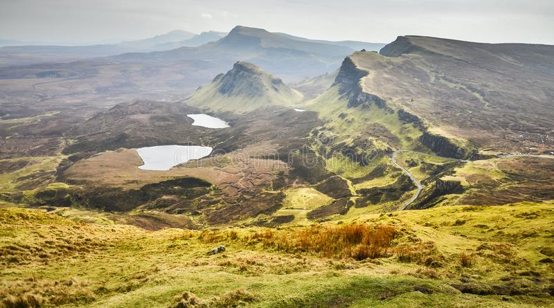 Isle of skye, Quiraing mountains scenery, Scotland scenic landscape, Great Britain royalty free stock images