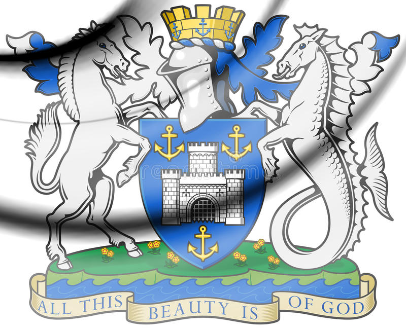 Isle of Wight coat of arms. 3d Rendered Isle of Wight coat of arms stock illustration