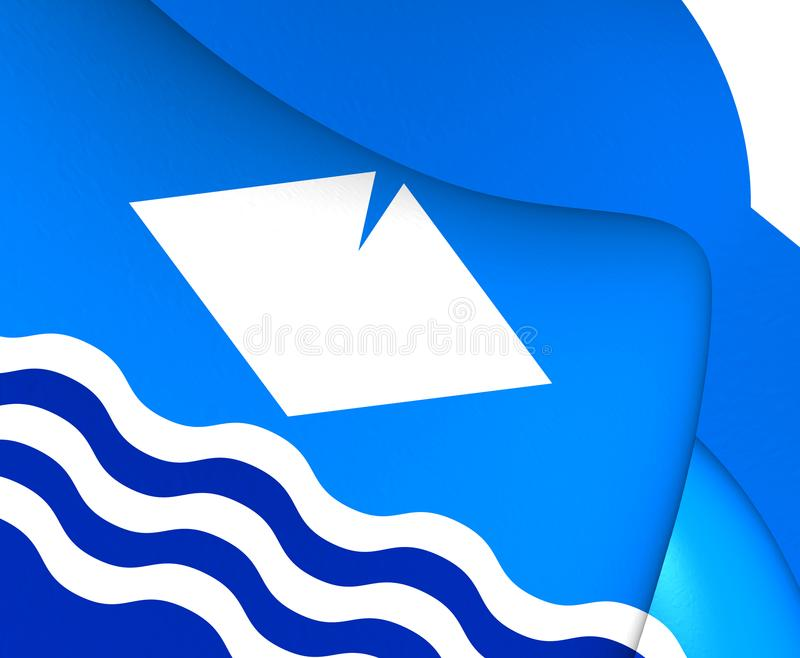 Isle of Wight Flag, England. Isle of Wight 3D Flag, England. Close Up vector illustration