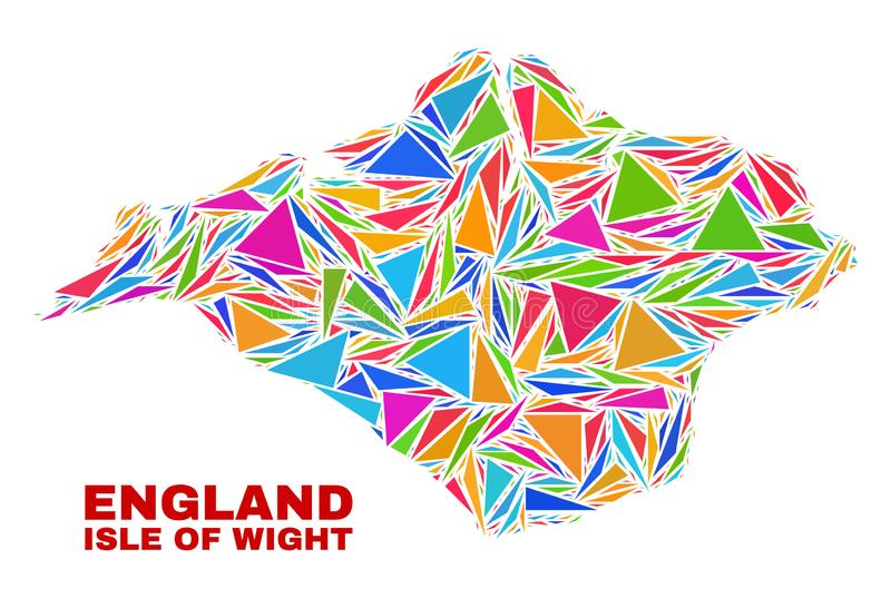 Isle of Wight Map - Mosaic of Color Triangles. Mosaic Isle of Wight map of triangles in bright colors isolated on a white background. Triangular collage in shape vector illustration