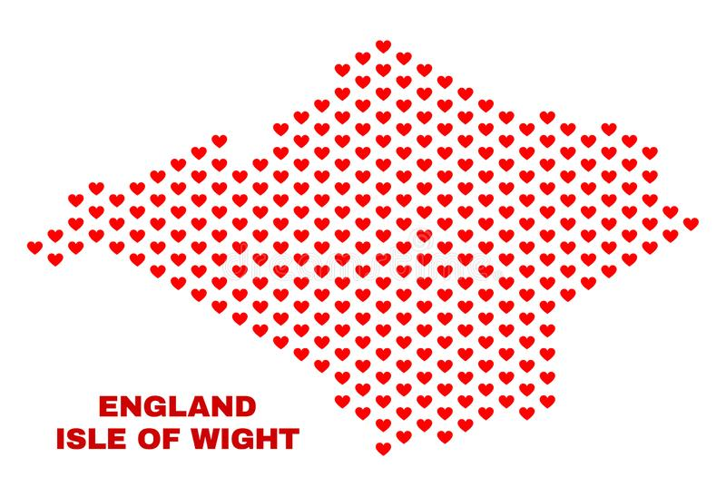 Isle of Wight Map - Mosaic of Valentine Hearts. Mosaic Isle of Wight map of heart hearts in red color isolated on a white background. Regular red heart pattern royalty free illustration