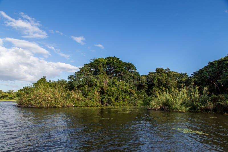 Isletas, kleine eilanden van het meer van Nicaragua stock afbeelding