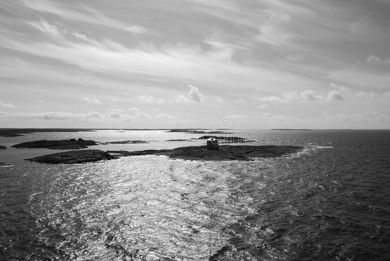 Islets. A black and white picture of a group of islets along the west coast of Finland stock image