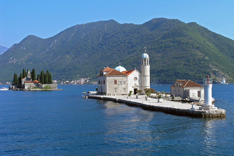 Islets of the Bay of Kotor. In Montenegro- St. George and Our Lady of the Rocks stock photos