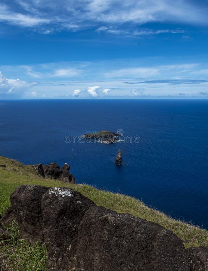 Islets of Easter Island , Chile. View from Orongo of the 3 islets of Motu Kau Kau , Motu Iti and Motu Nui , Easter island , Polynesia ,Chile. Motu nui played an stock photography