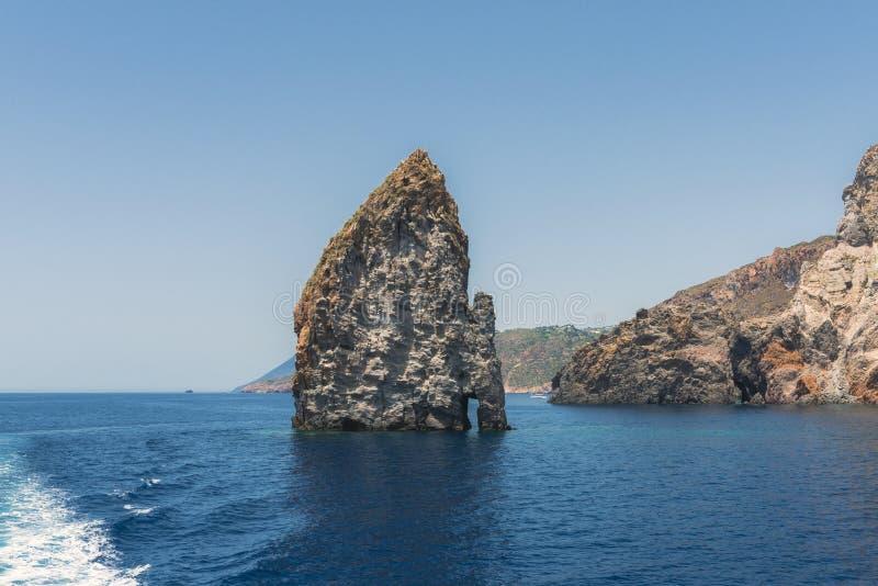 Islets and faraglioni near Vulcano island, Italy. Islets and faraglioni near Vulcano Island on Tyrrhenian Sea, Sicily, Italy royalty free stock image