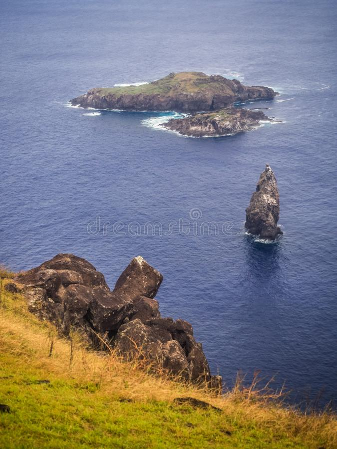 The islets or Motus from the Rano Kao volcano on Easter Island. Rapa Nui. Culture Chile royalty free stock photo