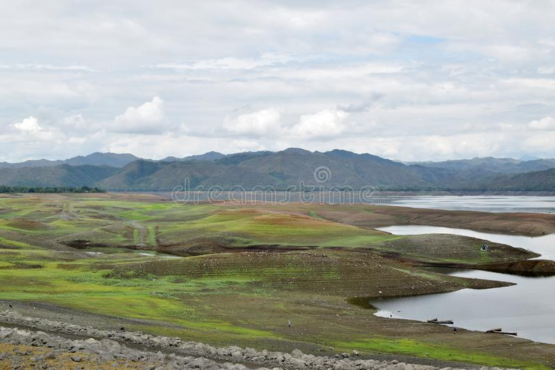 Islets or small islands form within the lake when water recede during long summer. High angle shot royalty free stock photo