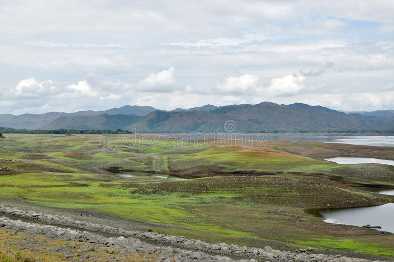 Islets or small islands form within the lake when water recede during long summer. High angle shot stock image