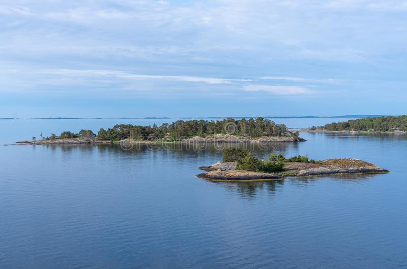 Islets of Stockholm Archipelago in Baltic Sea. Sweden stock photo
