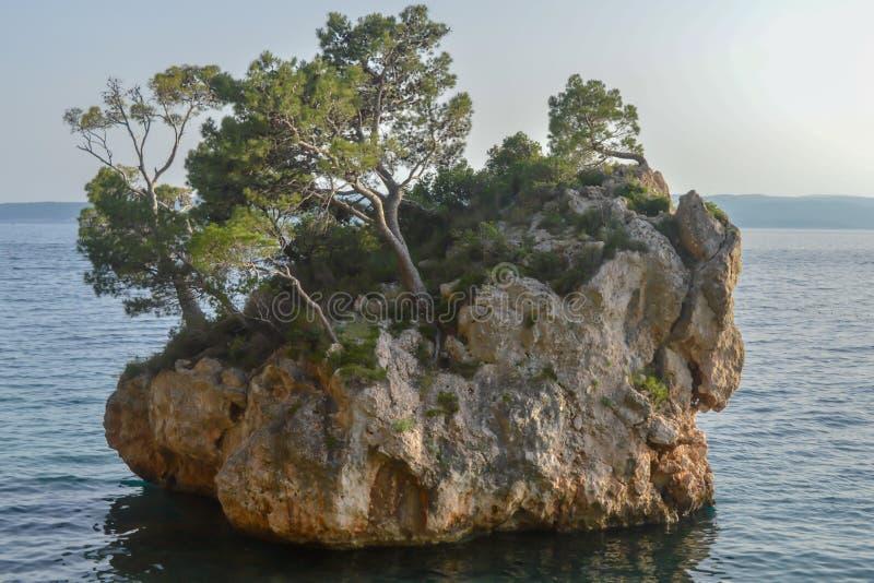 Islote en la playa de Punta Rata en la ciudad de vacaciones de Brela, Makarska riviera o fotografía de archivo