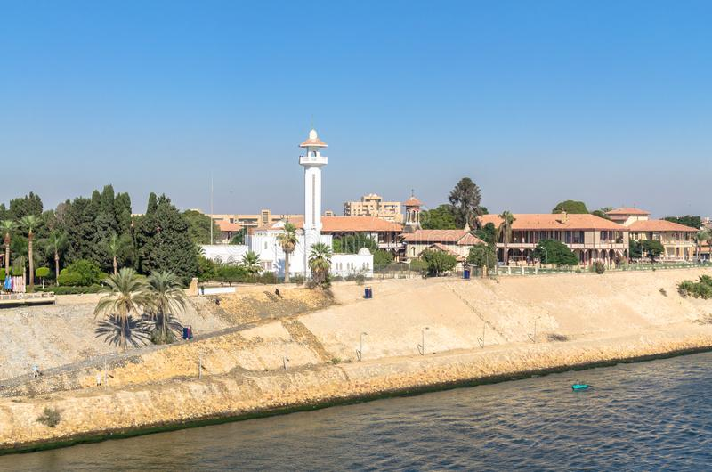 El Shefaa Mosque on the shore of Suez Canal in Ismailia City, Egypt,. Ismailia, Egypt - November 5, 2017: El Shefaa Mosque on the shore of Suez Canal in Ismailia royalty free stock images