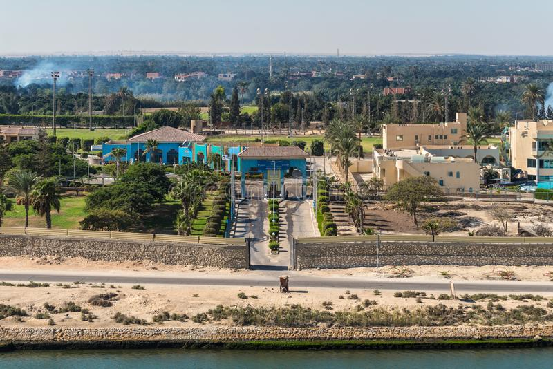 Ismailia olympic village - Ismailia, Egypt. Ismailia, Egypt - November 5, 2017: Ismailia olympic village on the shore of the Suez Canal near Ismailia, Egypt royalty free stock image