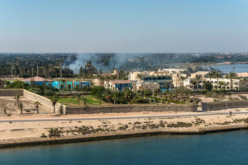 Ismailia olympic village - Ismailia, Egypt. Ismailia, Egypt - November 5, 2017: Ismailia olympic village on the shore of the Suez Canal near Ismailia, Egypt royalty free stock photos