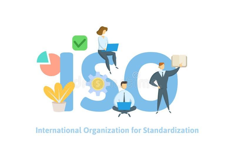 ISO标准,国际标准化组织 与人、信件和象的概念 平的传染媒介 库存例证