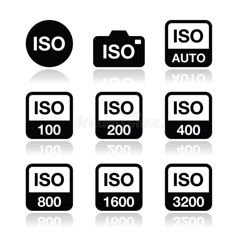 ISO - ícones padrão da velocidade de filme da câmera ajustados ilustração stock