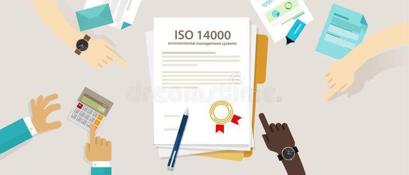 ISO 14000 επιχειρησιακή συμμόρφωση διοικητικών περιβαλλοντική προτύπων στο διεθνές έγγραφο λογιστικού ελέγχου χεριών οργάνωσης διανυσματική απεικόνιση