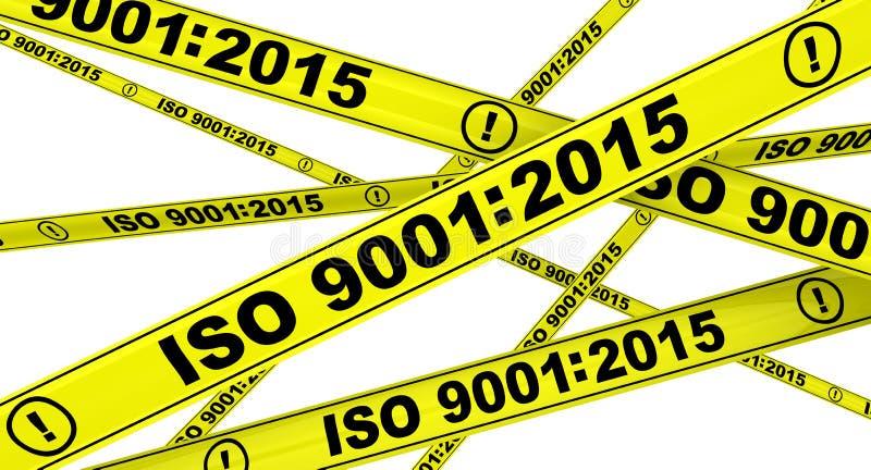 9001:2015 ISO Желтые предупреждающие ленты иллюстрация вектора