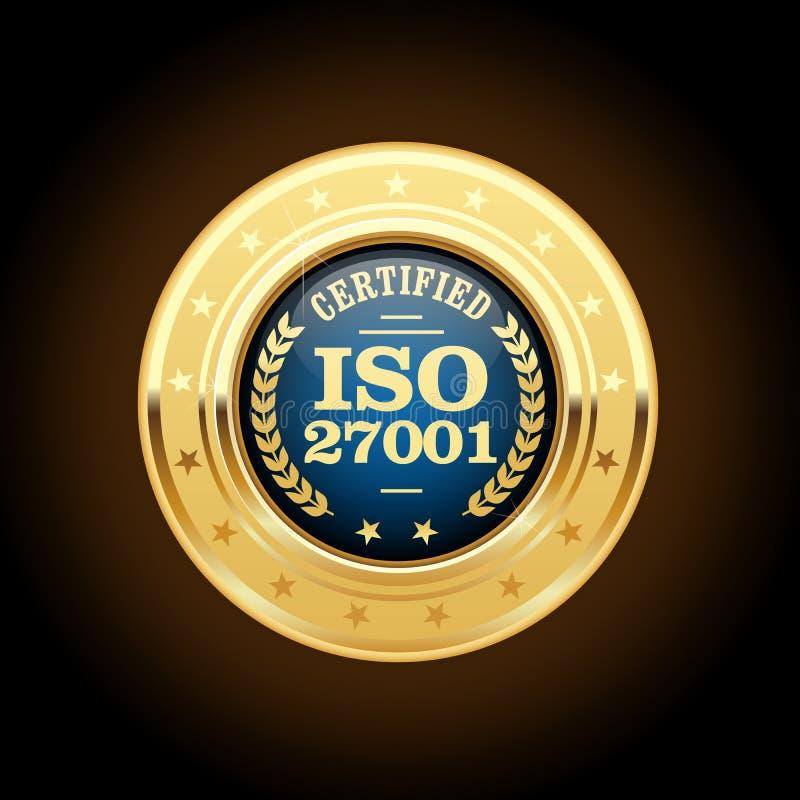 ISO 27001标准奖牌-信息保障 向量例证