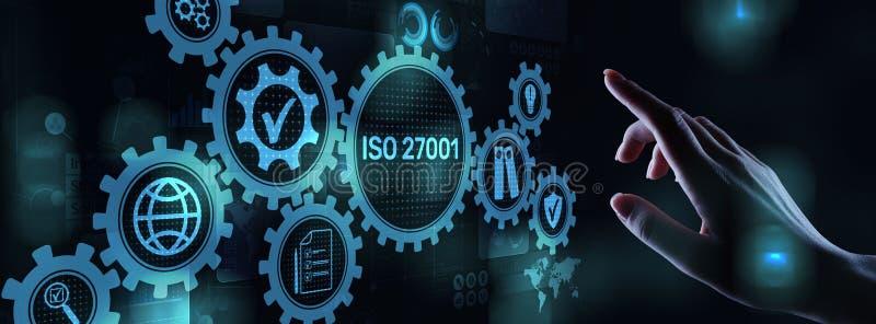 Iso 27001标准标准化证明顾客保证和满意企业概念在虚屏上 免版税图库摄影