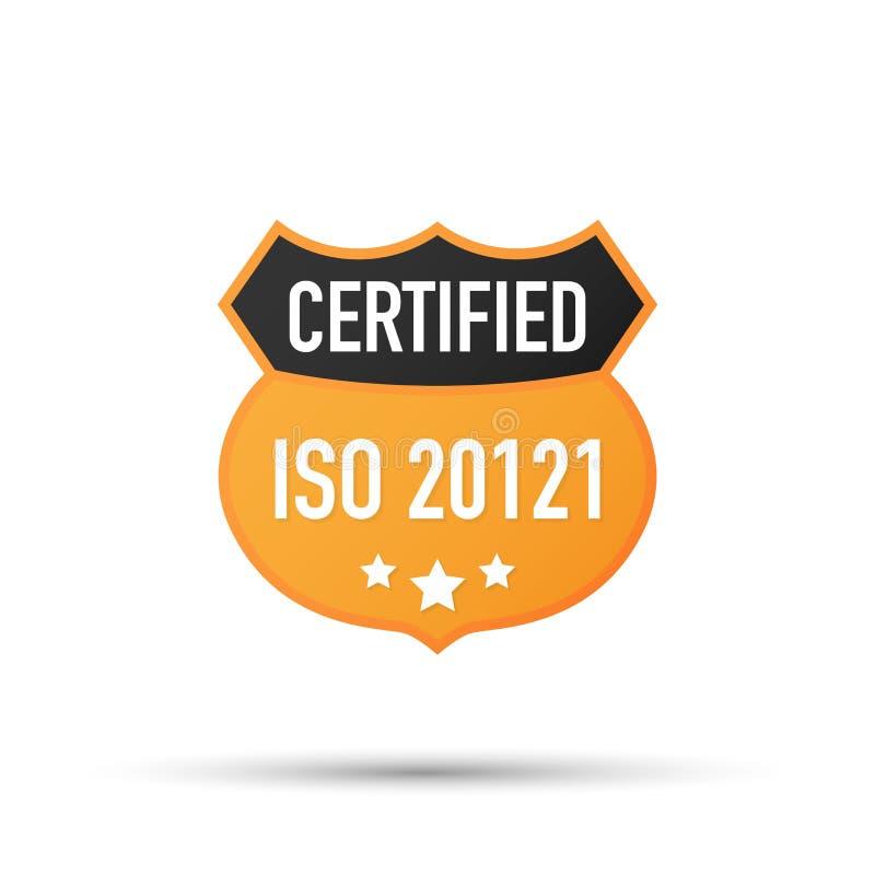 ISO 20121被证明的徽章,象 证明邮票 平的设计传染媒介 也corel凹道例证向量 库存例证