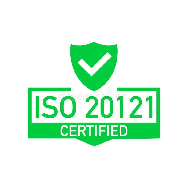 ISO 20121被证明的徽章,象 证明邮票 平的设计传染媒介 向量例证