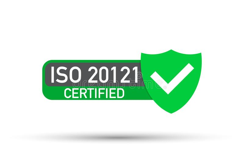 ISO 20121被证明的徽章,象 证明邮票 平的设计传染媒介 库存例证