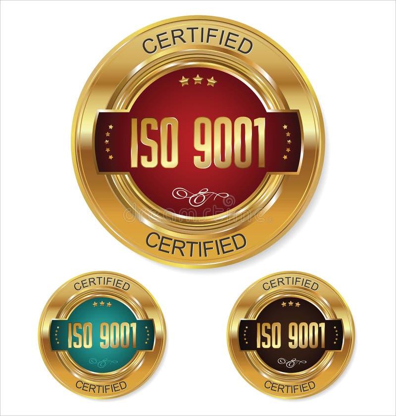 ISO 9001被证明的金黄徽章收藏 库存例证