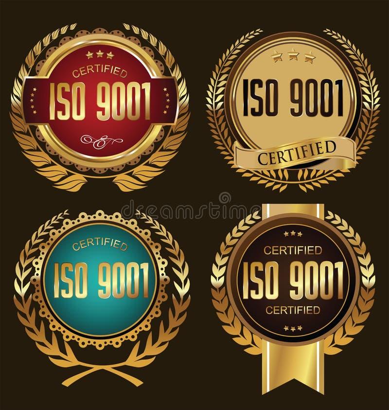 ISO 9001被证明的金黄徽章收藏 皇族释放例证