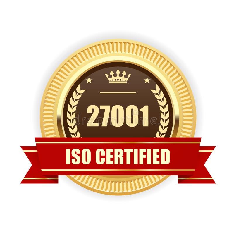 ISO 27001证明了奖牌-信息保障管理 库存例证