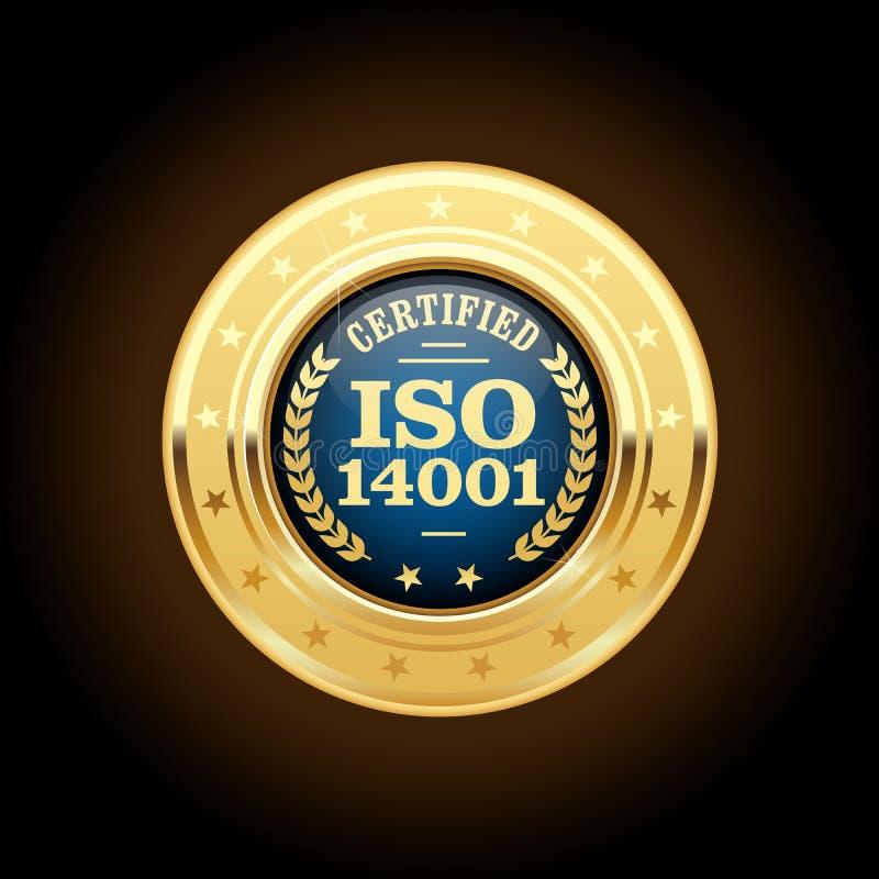 ISO 14001证明了奖牌-质量标准权威 向量例证