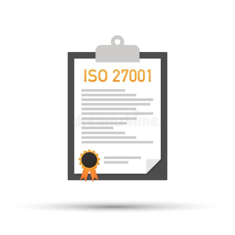 ISO 27001证明了质量管理体系文件纸 也corel凹道例证向量 皇族释放例证