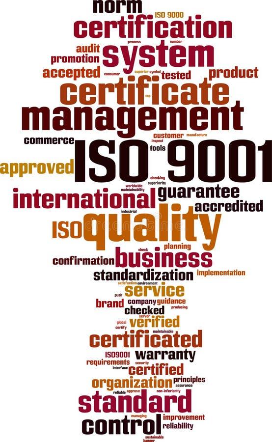 ISO 9001词云彩 库存例证