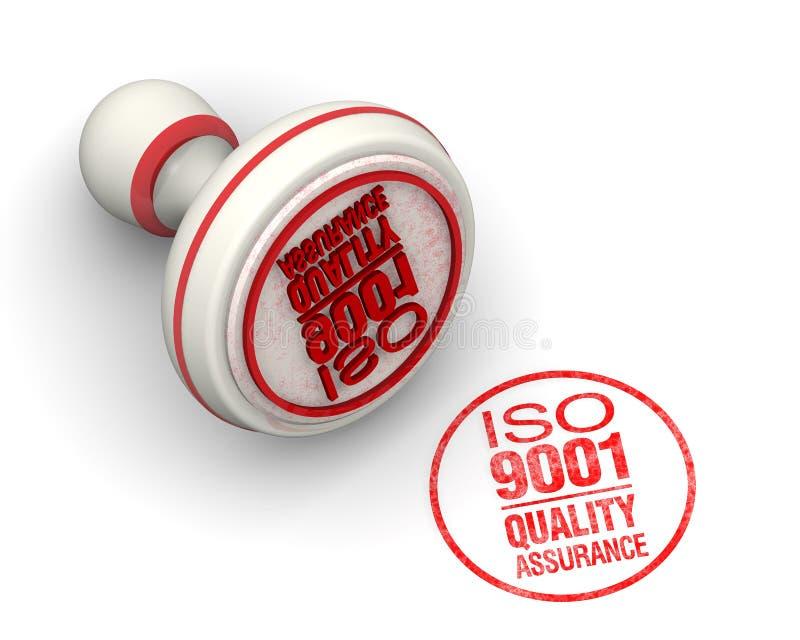 ISO 9001质量管理 圆的封印和版本记录 向量例证