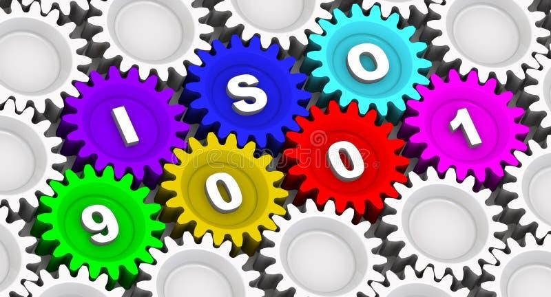 ISO 9001 Abreviatura en los engranajes ilustración del vector