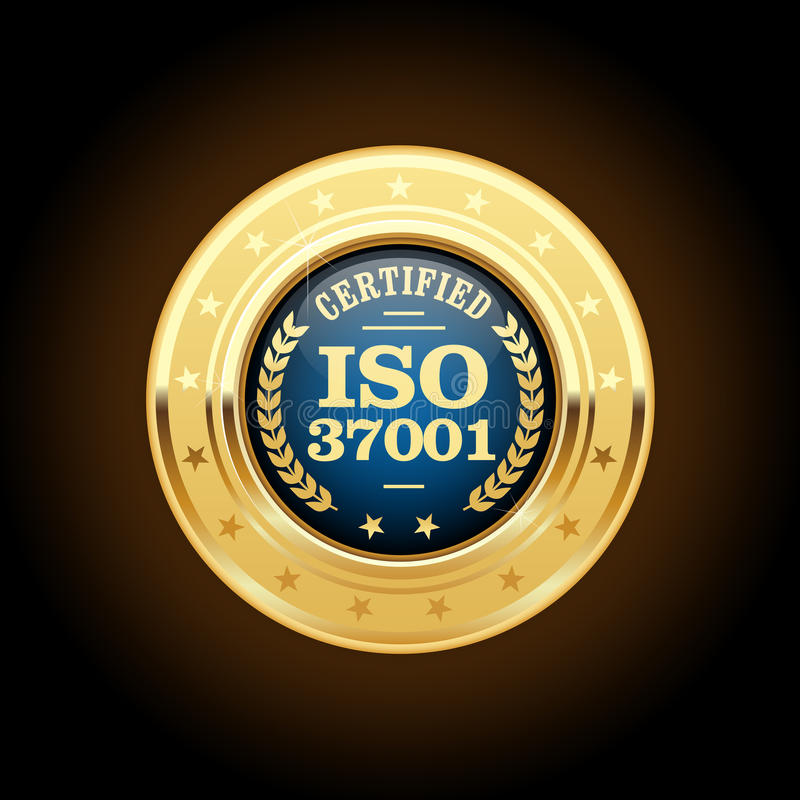 ISO 37001 - Anti-bribery management systems insignia. ISO 37001 - Anti-bribery management systems medal vector illustration