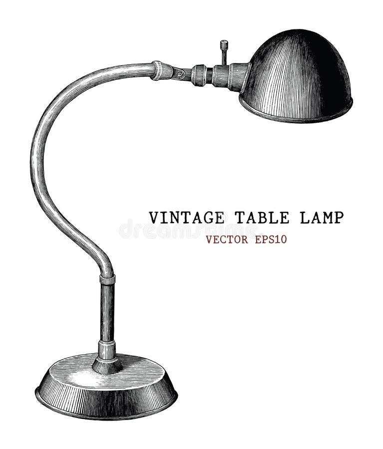 ISO antigua del estilo del grabado del vintage del drenaje de la mano de la lámpara de mesa del vintage ilustración del vector