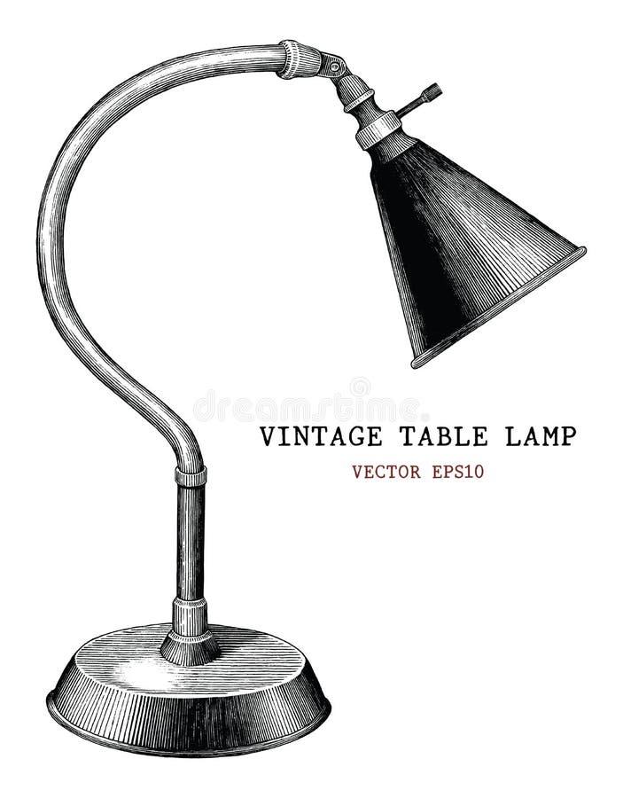 ISO antigua del estilo del grabado del vintage del drenaje de la mano de la lámpara de mesa del vintage stock de ilustración