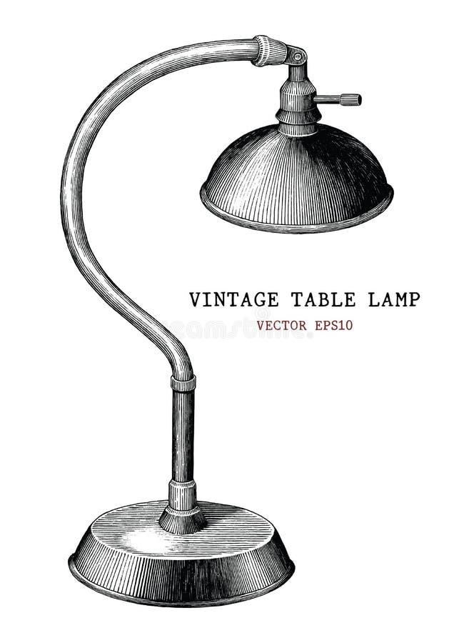 ISO antigua del estilo del grabado del vintage del drenaje de la mano de la lámpara de mesa del vintage libre illustration