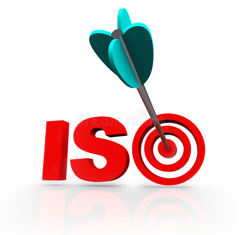 ISO Arrow Certified Doel Acroynm Word Company royalty-vrije illustratie