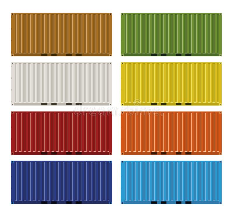 ISO Cargo containers. Twenty feet ISO cargo containers in eight colors vector illustration stock illustration