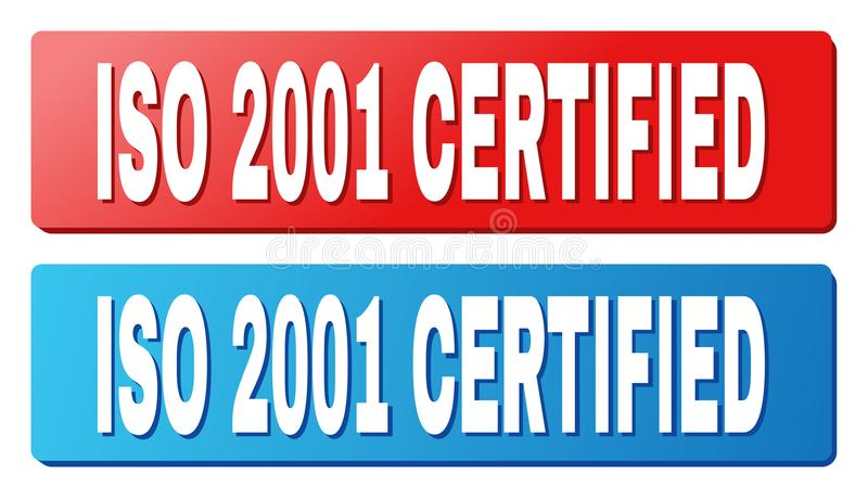 ISO 2001 CERTIFIED Caption on Blue and Red Rectangle Buttons. ISO 2001 CERTIFIED text on rounded rectangle buttons. Designed with white caption with shadow and vector illustration