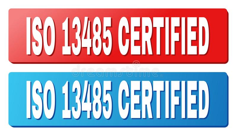 ISO 13485 CERTIFIED Caption on Blue and Red Rectangle Buttons. ISO 13485 CERTIFIED text on rounded rectangle buttons. Designed with white caption with shadow and stock illustration