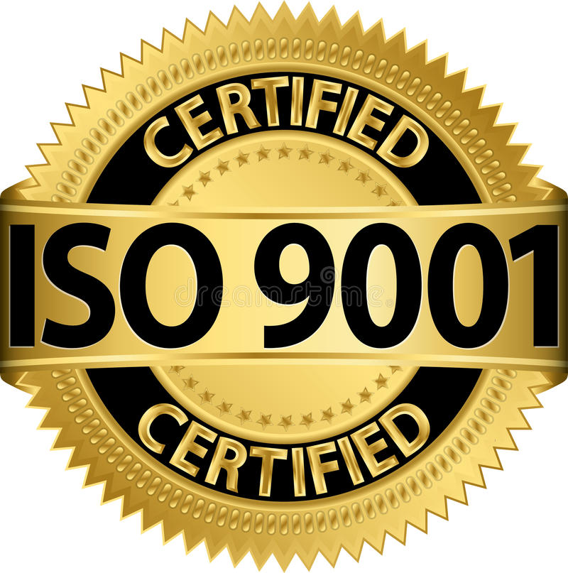 ISO 9001 certified golden label, vector stock illustration