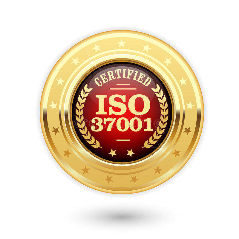ISO 37001 certified medal - Anti bribery management. Systems stock illustration