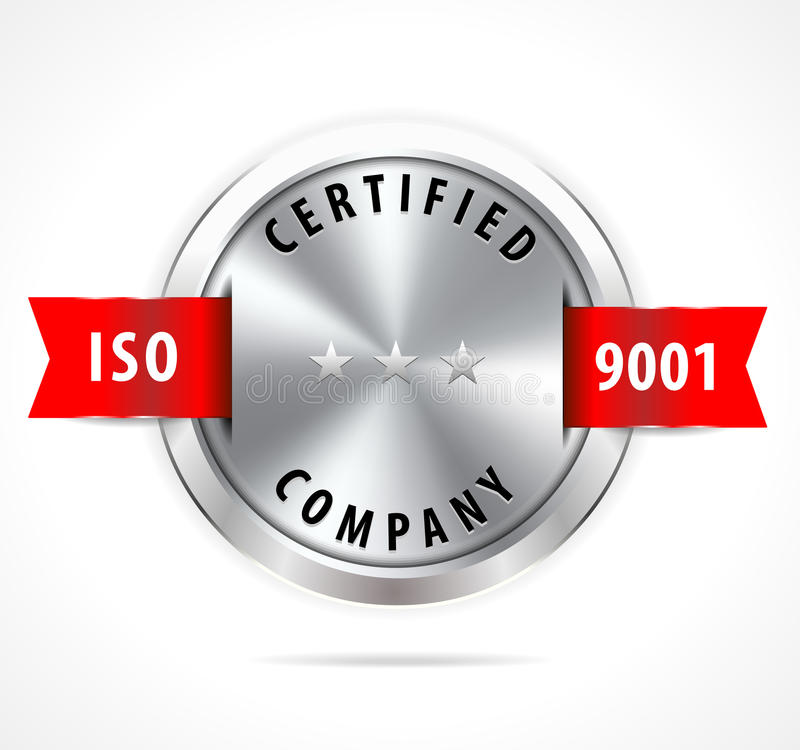 ISO 9001 certified, silver badge with red ribbon - vector eps10 vector illustration