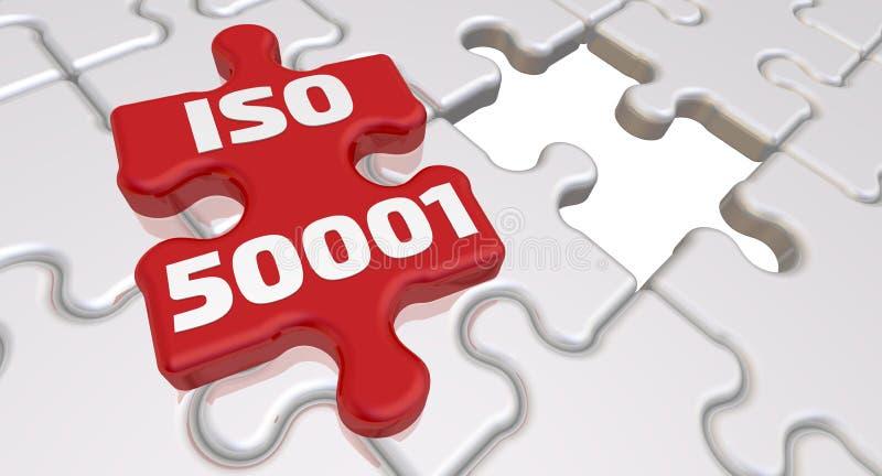 ISO 50001 De inschrijving op het ontbrekende element van het raadsel stock illustratie