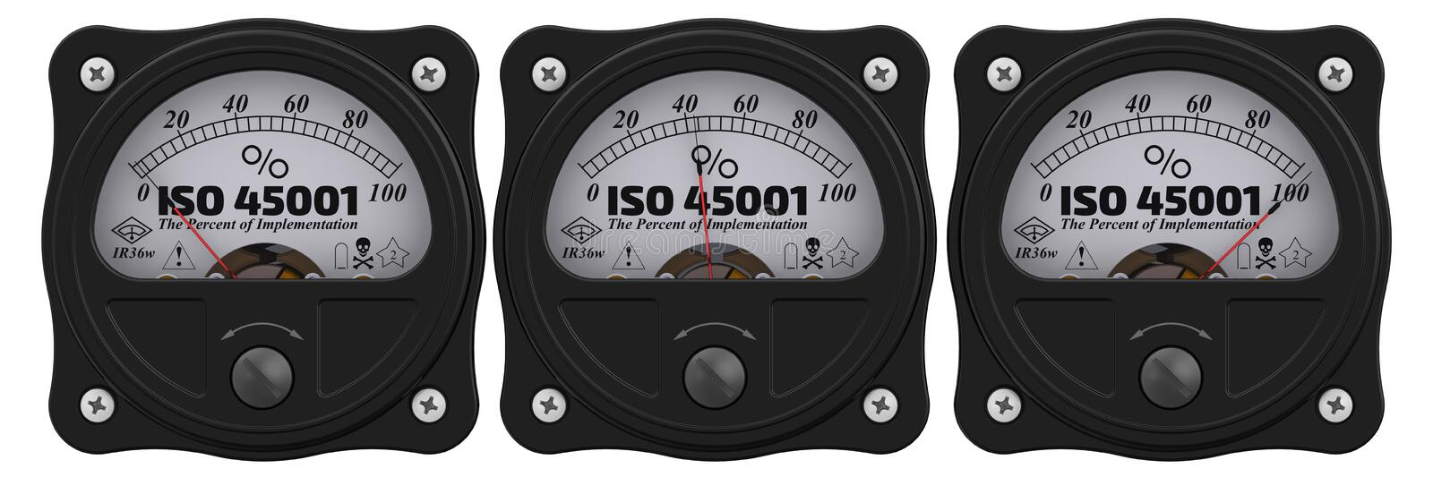 ISO 45001 De percenten van implementatie indicator vector illustratie