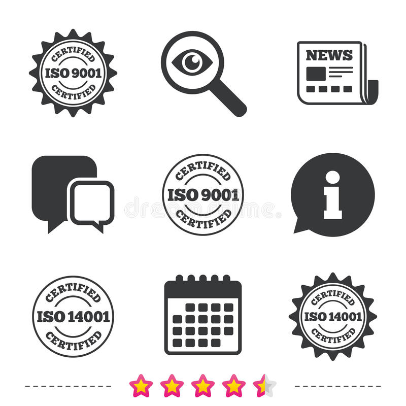 ISO 9001 en 14001 verklaard pictogram certificatie stock illustratie