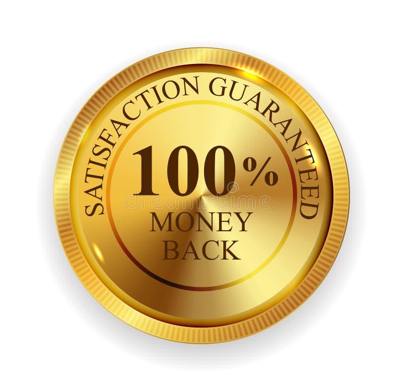 Iso för tecken för skyddsremsa för symbol för medalj för högvärdiga pengar för kvalitet 100 tillbaka guld- royaltyfri illustrationer